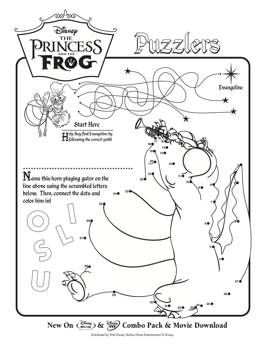 Princess and the Frog Movie Maze and Connect the Dots : Printables ...