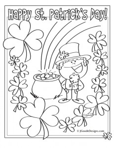 st patricks day leprechaun lucky clover and pot of gold coloring page