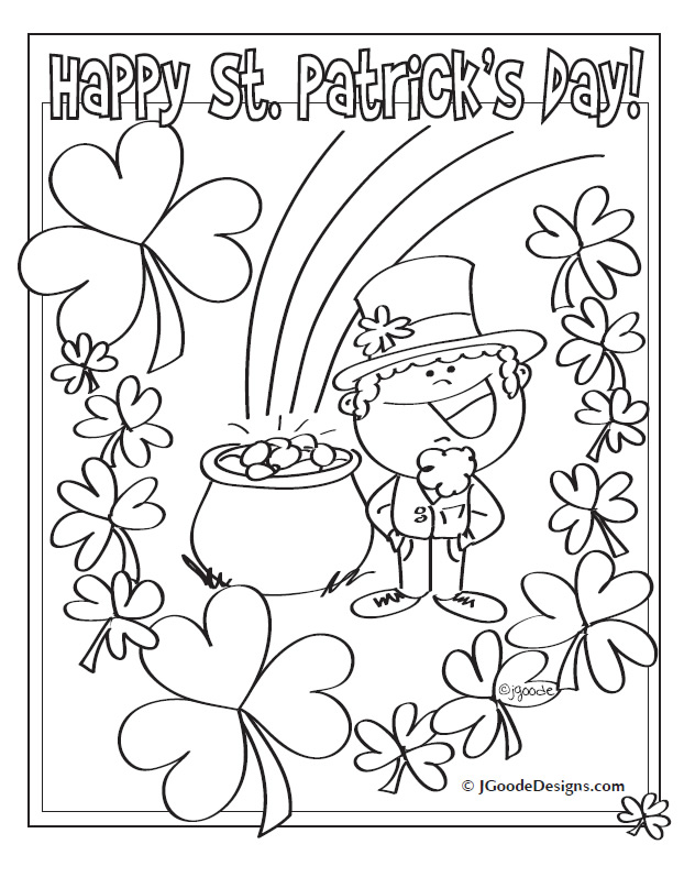 St Patricks Day Leprechaun, Lucky Clover and Pot of Gold coloring ...