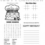 4 in 1 Birthday Game Sheet - word search, tic tac toe