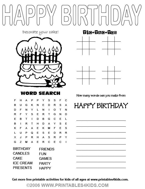 4 in 1 birthday game sheet word search tic tac toe printables for kids free word search puzzles coloring pages and other activities