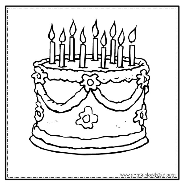 Fancy Cake Coloring Page Printables for Kids free word search
