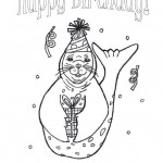 Happy Birthday Seal Coloring Page