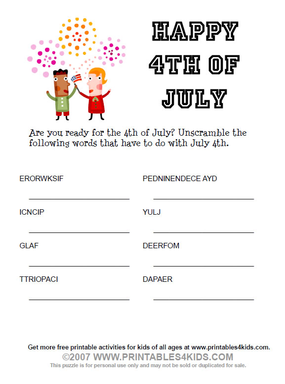 free fourth of july coloring pages. 4th of July Word Scramble