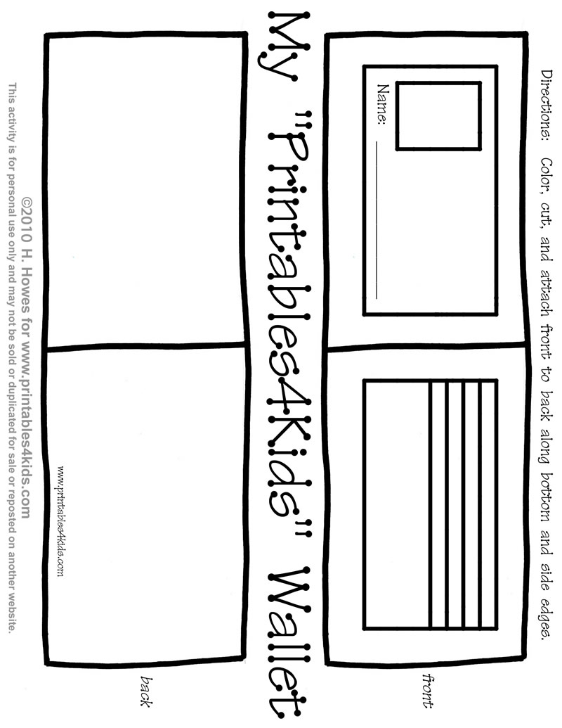 print and play wallet activity for kids printables for kids
