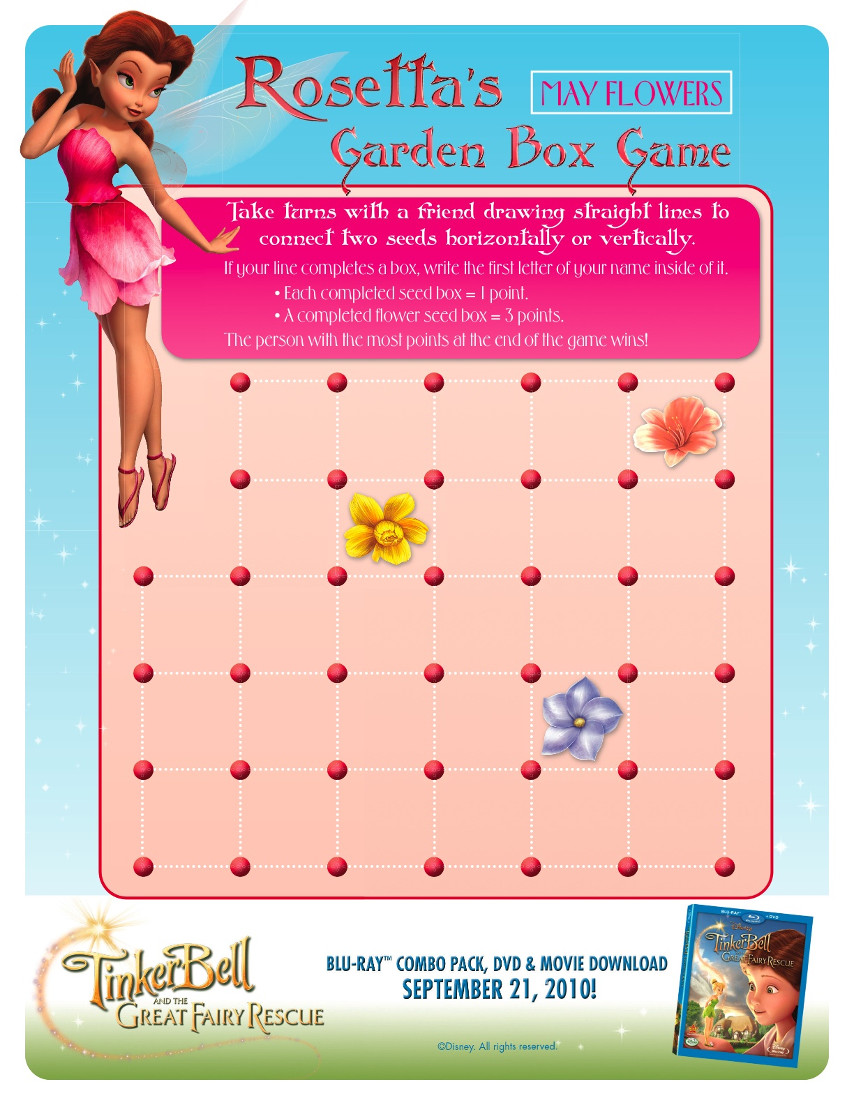 Tinker Bell Fairy Connect the Dots Game : Printables for Kids – free ...