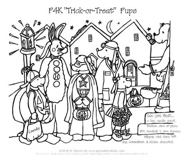 Halloween Hidden Picture Color Pages http://printables4kids.com/halloween-trick-or-treat-hidden-pictures-activity/halloween-pups-hidden-pictures/