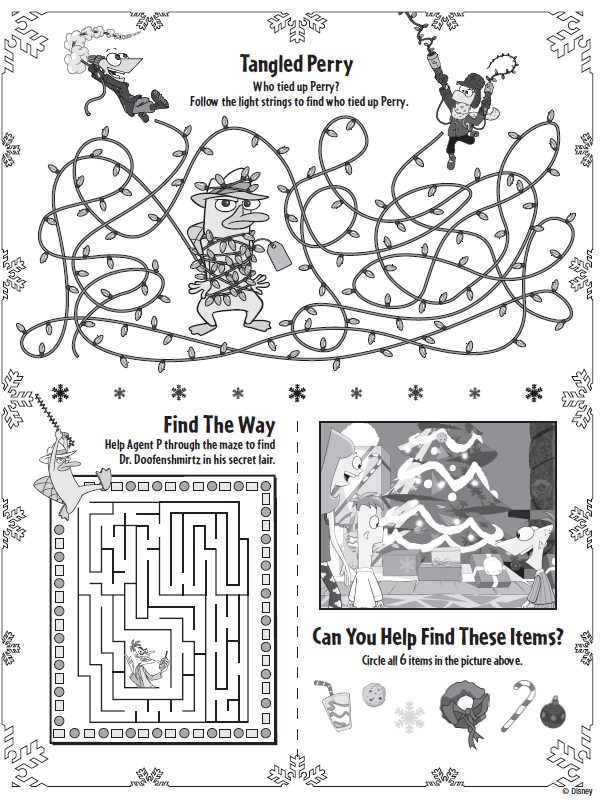 phineas ferb christmas printable activities printables for kids free word search puzzles coloring pages and other activities