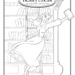 Beauty and the Beast Belle in the Library Coloring Page