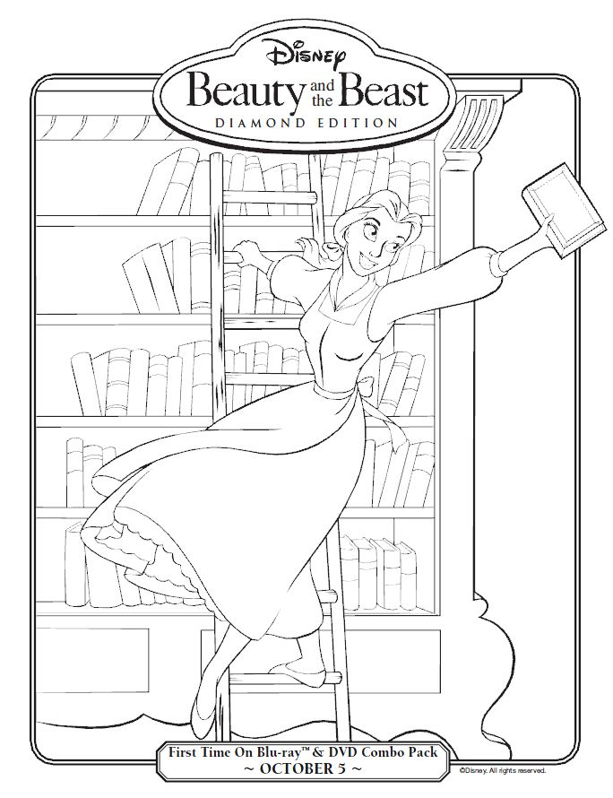 Beauty and the Beast Belle in the Library Coloring Page Printables