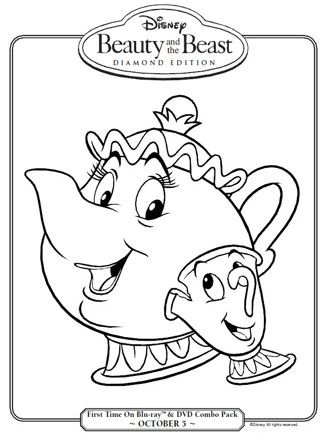 Beauty And The Beast Mrs Potts Chip Coloring Page Printables For Kids Free Word Search Puzzles Pages Other Activities
