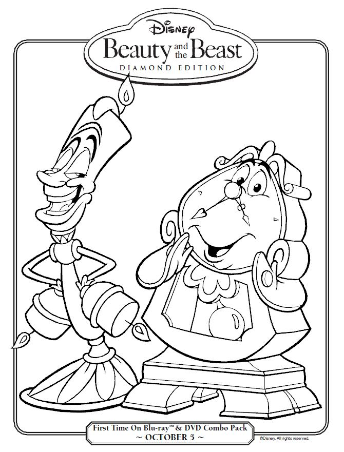 Beauty And The Beast Lumiere Cogsworth Coloring Sheet