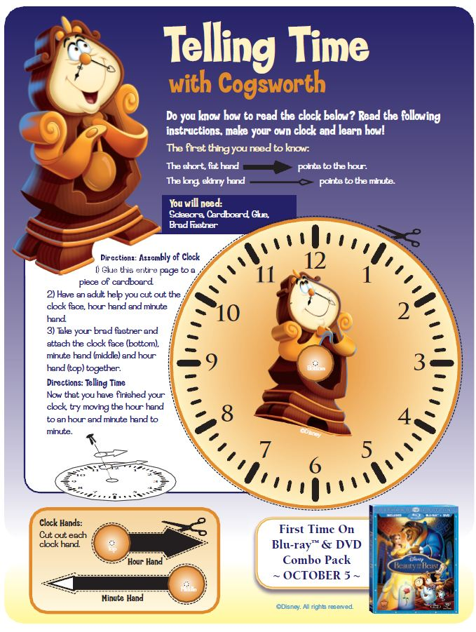 Beauty And The Beast Learn To Tell Time Activity Printables For