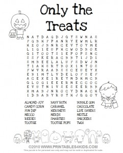 Halloween Candy Wordsearch