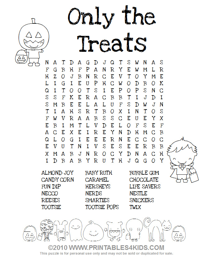 halloween treats word search printables for kids free word search puzzles coloring pages and other activities