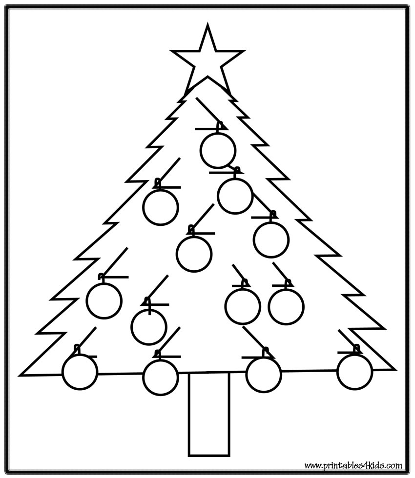 Simple Christmas Tree coloring page : Printables for Kids – free ...