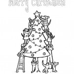 Dogs decorating the Christmas Tree coloring page