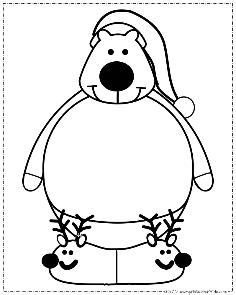 Print and color polar bear santa hat printables for kids for Coloring pages polar bear