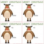 Printable Christmas Reindeer Gift Tags