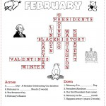 Printable February Crossword Puzzle for Kids Answer Key