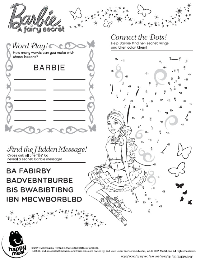 Barbie A Fairy Secret Activity Sheet Happy Meal Printables For Kids Free Word Search Puzzles Coloring Pages And Other Activities