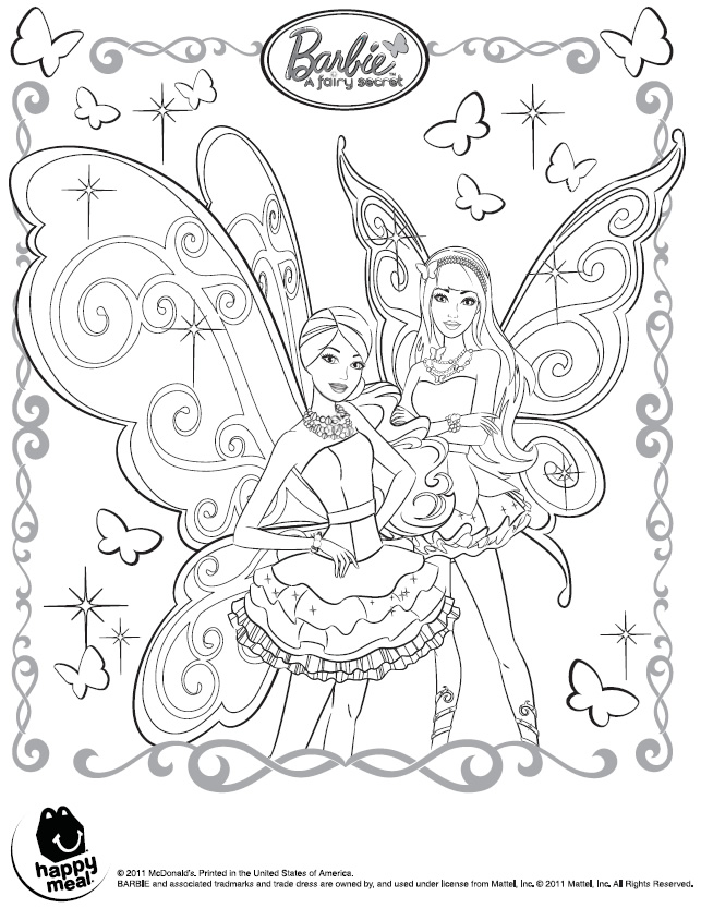 Coloring Pages Of Barbie A Fairy Secret : Barbie fairy coloring pages