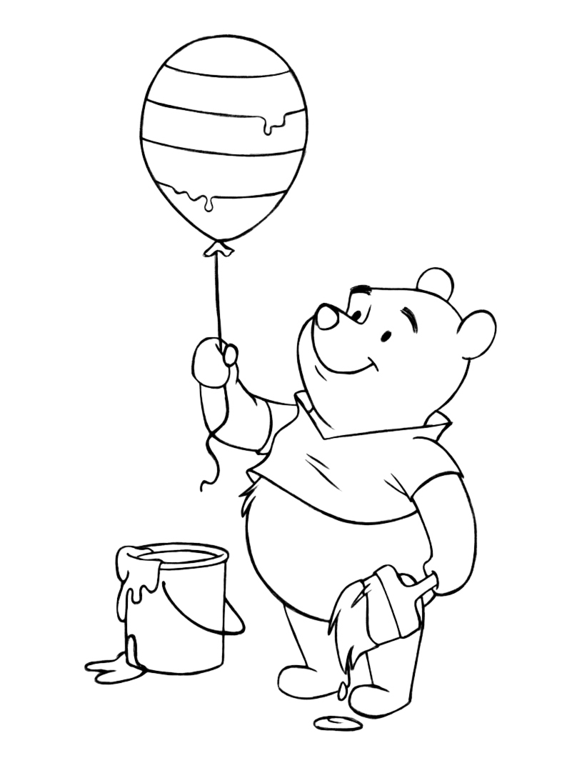 printable winnie the pooh easter balloon coloring page