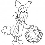 Piglet Dressed Up as Easter Bunny Coloring Page