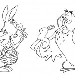 Winnie the Pooh Rabbit and Owl Easter Coloring Page