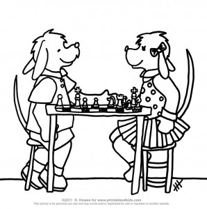 Dogs playing chess coloring page