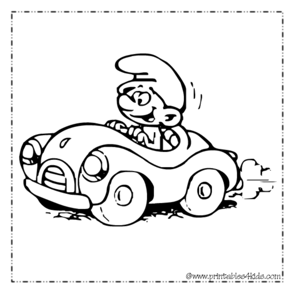smurfs car coloring page - Smurf Coloring Pages