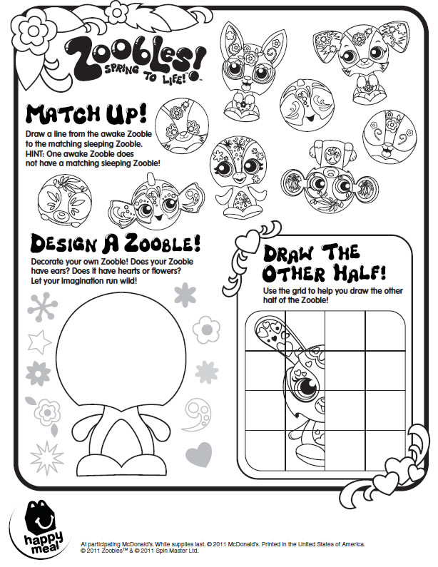 Zoobles Printable Activity Page : Printables for Kids – free word ...