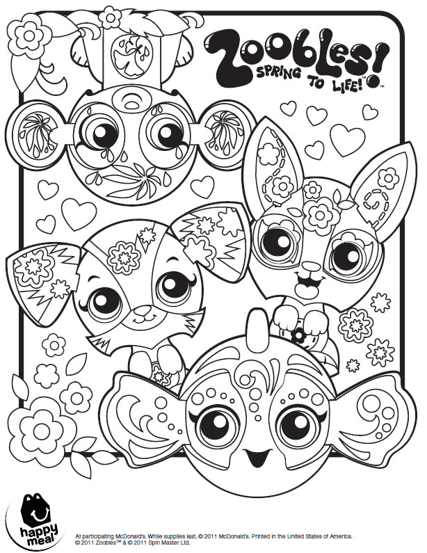 Zoobles Coloring Page Printables for Kids free word search