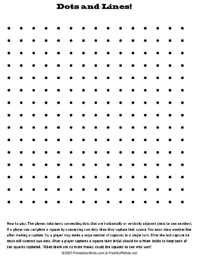 Blank Printable Dots and Lines Pencil Game : Printables for Kids ...