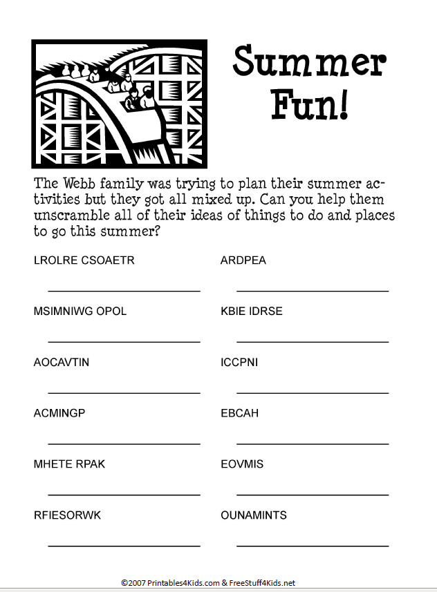 picture relating to Free Printable Word Scramble known as Summer season Pleasurable Term Scramble : Printables for Children cost-free term