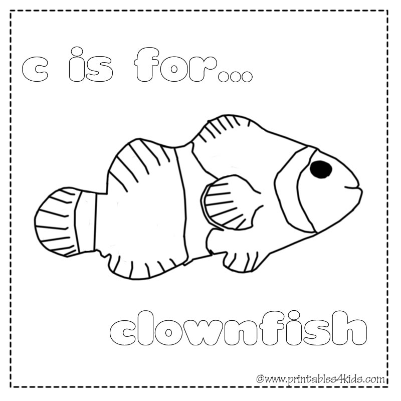 C Is For Clownfish Coloring Page Printables Kids Free Word Search Puzzles Pages And Other Activities