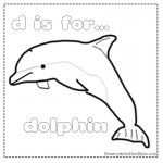 D is for Dolphin coloring page