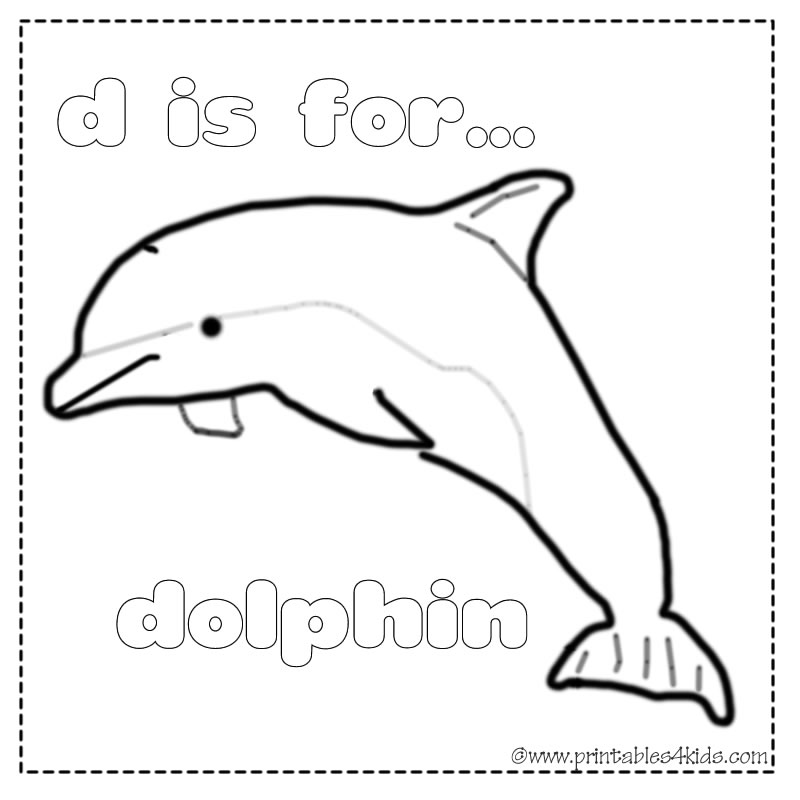 d is for dolphin coloring page printables for kids free word search puzzles coloring pages and other activities - Dolphins Coloring Pages Printable