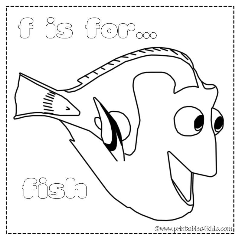 F Is For Fish Coloring Page Printables For Kids Free Word Search - F-is-for-fish-coloring-page