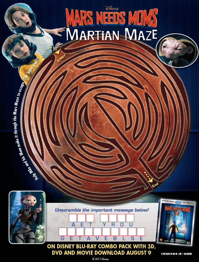 Free Printable Mars Needs Moms Maze Printables for Kids