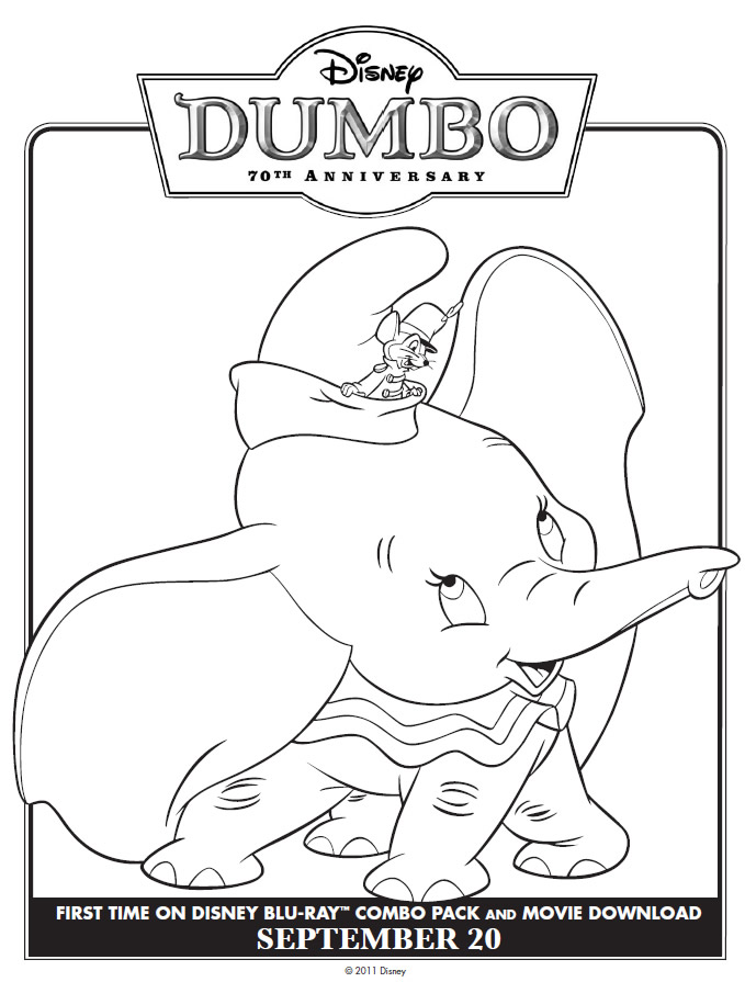 Classic Dumbo coloring page Printables for Kids free word