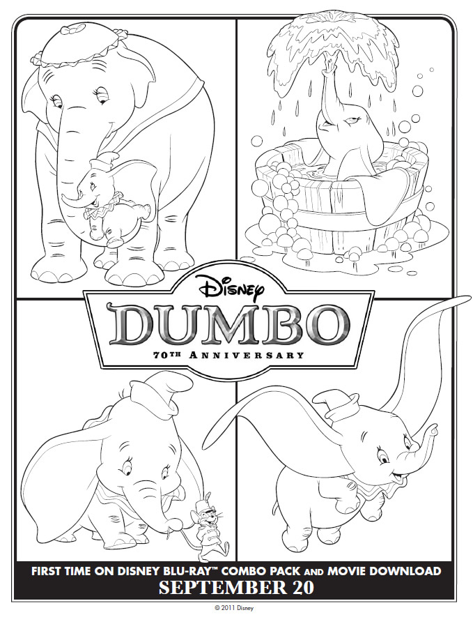 Four mini Dumbo coloring scenes : Printables for Kids – free word ...