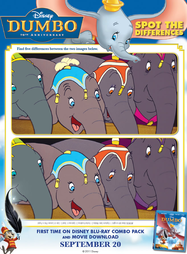 Disney Dumbo Spot the Difference : Printables for Kids – free word ...