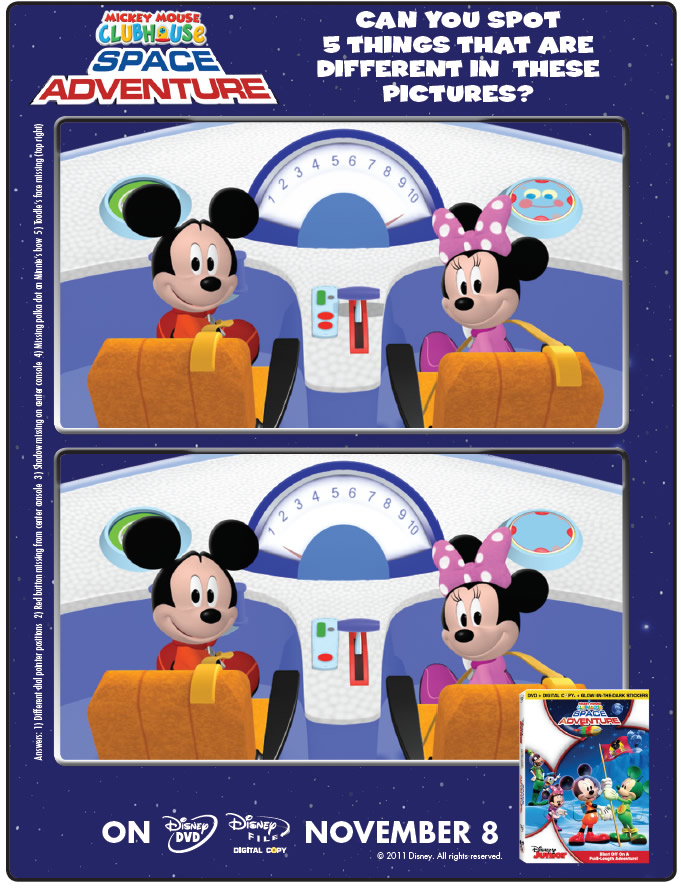 Space Adventure Spot the Difference Printable : Printables for Kids ...