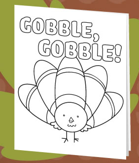 Gobble Gobble Turkey Printable Thanksgiving Card